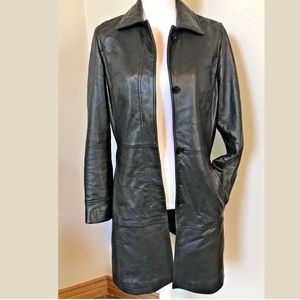 Tahari Lambskin Leather Trench Coat